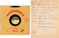 "Music Memorabilia:Memorabilia, Bob Dylan ""Tomorrow Is a Long Time"" rare 10"" Acetate and Sheet Music (circa 1960s)...."