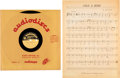 "Music Memorabilia:Memorabilia, Bob Dylan ""Only a Hobo"" Ultra Rare 10"" Acetate and Sheet Music (circa 1960s)...."