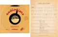 "Music Memorabilia:Memorabilia, Bob Dylan ""Paths of Victory"" Ultra Rare 10"" Acetate and Sheet Music(circa 1960s)...."