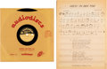 "Music Memorabilia:Memorabilia, Bob Dylan ""Guess I'm Doing Fine"" Ultra Rare 10"" Acetate and SheetMusic (circa 1960s). ..."