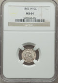 Seated Half Dimes: , 1862 H10C MS64 NGC. NGC Census: (183/180). PCGS Population: (152/184). MS64. Mintage 1,492,550. ...