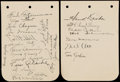 Autographs:Index Cards, 1935 New York Giants Multi-Signed Album Page Pair. (25 Signatures)....