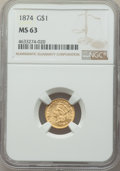 Gold Dollars: , 1874 G$1 MS63 NGC. NGC Census: (803/761). PCGS Population: (883/889). MS63. Mintage 198,820. ...