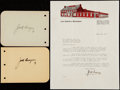 Boxing Collectibles:Autographs, Jack Dempsey Signed Letter with Two Album Pages.... (Total: 3 items)