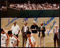 Autographs:Photos, Baseball Hall of Fame Multi-Signed Photograph with Ted Williams....