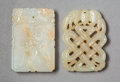 Carvings, Two Chinese Carved Jade Plaques, Qing Dynasty. 2-1/8 x 1-3/8 x 1/4 inches (5.4 x 3.4 x 0.7 cm) (larger). ... (Total: 2 Items)