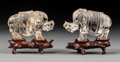 Carvings, A Pair of Chinese Carved Rock Crystal Elephants on Carved Wood Stands. 3-3/8 x 3-3/4 x 1-3/4 inches (8.6 x 9.5 x 4.4 cm) (ta... (Total: 2 Items)