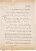 Books:Mystery & Detective Fiction, Dashiell Hammett. Typed Letter, Initialed, to Prudence Whitfield.[Adak Island] The Aleutians [Alaska]: July 17 1944. Presum...