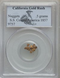 1857 California Gold Rush Nuggets, S.S. Central America PCGS. .5 Grams