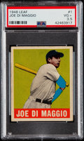 Baseball Cards:Singles (1940-1949), 1948 Leaf Joe DiMaggio #1 PSA VG+ 3.5....