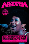 Music Memorabilia:Posters, Aretha Franklin Signed Fillmore West Concert Poster (Bill Graham, 1971). ...