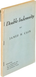 Books:Mystery & Detective Fiction, James M. Cain. Double Indemnity. Los Angeles: H. N. Swanson, [1943]. First separate edition....