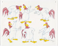 "Animation Art:Color Model, Virgil Ross - Foghorn Leghorn ""Model Sheet"" Drawing Original Art(Warner Brothers, c. 1990s)...."