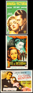 "Movie Posters:Academy Award Winners, All About Eve & Other Lot (20th Century Fox, 1952) Very Fine. Spanish Heralds (3) (3.5"" X 5.25""). Academy Award Winners.... (Total: 3 Items)"