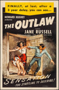 "Movie Posters:Western, The Outlaw (RKO, R-1949) Folded, Fine/Very Fine. One Sheet (27"" X 41""). Western...."
