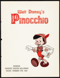 """Movie Posters:Animation, Pinocchio (RKO, 1940) Very Fine-. Premiere Program (8 Pages, 8.25""""X 10.75""""). Animation...."""