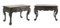 Furniture, A Fine Pair of Southern Chinese Marble-Inset Carved Hardwood Tables, 19th century. 28 x 42-1/2 x 23-3/4 inches (71.1 x 108.0... (Total: 2 Items)