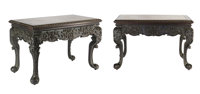 A Fine Pair of Southern Chinese Marble-Inset Carved Hardwood Tables, 19th Century 28 x 42-1/2 x 23-3/4 inches (71