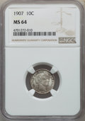 Barber Dimes: , 1907 10C MS64 NGC. NGC Census: (98/85). PCGS Population: (133/71). MS64. Mintage 22,220,576. ...