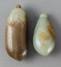 Carvings, Two Chinese Jade Eggplant Snuff Bottles, Qing Dynasty. 2.625 inches (6.667 cm) (larger). ... (Total: 2 Items)