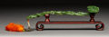 Carvings, A Spinach Jade Ruyi Scepter on Hardwood Stand, 20th century. 11 x 2-1/2 inches (27.9 x 6.4 cm) (scepter, excluding tassels a...