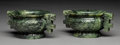 Carvings, A Pair of Spinach Jade Ding Vessels, 20th century. Marks: (six character apocryphal Qianlong seal). 3-1/2 x 8-1/4 inches (8.... (Total: 2 Items)