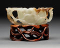Carvings, A Chinese Lotus-Form White and Brown Jade Brush Washer with Carved Stand, 19th-20th century. 1-1/2 x 4 x 3-1/4 inches (3.8 x...