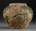 Ceramics & Porcelain, A Chinese Glazed Pottery Vessel, Han Dynasty, circa 206 BC to 220 AD. Collection Inventory Marks: 23-32-190. 5-1/4 x 6-1...