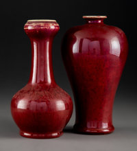 Two Chinese Oxblood Porcelain Vases, Qing Dynasty 8-3/4 x 5 inches (22.2 x 12.7 cm)