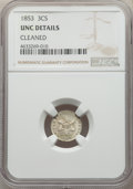 Three Cent Silver, 1853 3CS -- Cleaned -- NGC Details. Unc. NGC Census: (2/590). PCGS Population: (6/767). MS60. Mintage 11,400,000....