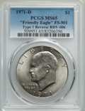 Eisenhower Dollars, 1971-D $1 Friendly Eagle, FS-901, RDV-006 MS65 PCGS. PCGS Population: (131/35). Mintage 68,587,424....