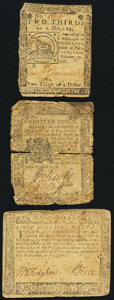 Continental Currency February 17, 1776 $2/3; Maryland December 7, 1775 $8; Pennsylvania April 25