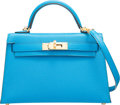 "Miscellaneous, Hermes 20cm Blue Zanzibar Chevre Leather Mini Kelly II with Gold Hardware. A, 2017. Condition: 1. 7.5"" Width x 5"" ..."