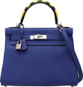 Luxury Accessories:Bags, Hermes Limited Edition 28cm Blue Electric Au Trot Togo Leather Retourne Kelly Bag with Palladium Hardware. A, 2017. Co...