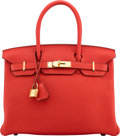 "Luxury Accessories:Bags, Hermès 30cm Rouge Tomate Clemence Leather Birkin Bag with Gold Hardware. X, 2016. Condition: 1. 12"" Width x 8"" Hei..."