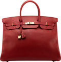 """Luxury Accessories:Bags, Hermès 40cm Rouge Vif Ardennes Leather Birkin Bag with Gold Hardware. A Square, 1997. Condition: 3. 15.5"""" Width x ..."""
