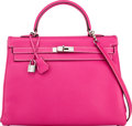 Luxury Accessories:Bags, Hermès Limited Edition 35cm Rose Tyrien & Ruby Epsom Leather Retourne Candy Kelly Bag with Palladium Hardware. O Square, 2...