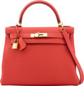 """Luxury Accessories:Bags, Hermès 28cm Rouge Pivoine Togo Leather Retourne Kelly Bag with GoldHardware. R Square, 2014. Condition: 1. 11""""Wi..."""