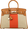 Luxury Accessories:Bags, Hermès Limited Edition 35cm Ficelle & Orange H Toile and Fauve Barenia Leather Birkin Flag Bag with Light Permabrass Hardware...