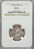India:British India, India: British India. George V 4-Piece Lot of Certified 2 Annas NGC,... (Total: 4 coins)