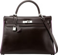 Luxury Accessories:Bags, Hermès 35cm Chocolate & Ultraviolet Calf Box Leather Retourne Kelly Bag with Palladium Hardware. J Square, 2006. Condi...