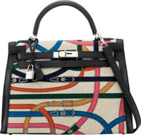 Hermès Limited Edition 32cm Black Cavalcadour Printed Canvas Sellier Kelly Bag with Palladium Hardware A, 2017&am...