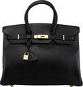 "Luxury Accessories:Bags, Hermès 35cm Black Ardennes Leather Birkin Bag with Gold Hardware. F Square, 2002. Condition: 2 . 14"" Width x 10"" H..."