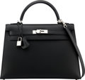 "Luxury Accessories:Bags, Hermès 32cm Black Sombrero Leather Sellier Kelly Bag with Palladium Hardware. T, 2015. Condition: 1. 12.5"" Width x..."