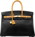 """Luxury Accessories:Bags, Hermès 35cm Black & Gold Ardennes Leather Birkin Bag with GoldHardware. A Square, 1997. Condition: 2 . 14"""" Width..."""