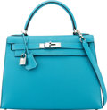 "Luxury Accessories:Bags, Hermès 28cm Turquoise Chevre Leather Sellier Kelly Bag with Palladium Hardware. I Square, 2005. Condition: 1. 11"" ..."