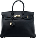 "Luxury Accessories:Bags, Hermès 35cm Navy Blue Epsom Leather Birkin Bag with Gold Hardware. H Square, 2004. Condition: 2 . 14"" Width x 10"" ..."