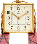 Timepieces:Clocks, Cartier, Small Alarm Clock, Rhodonite Base, Original Box, circa 1950's. ...