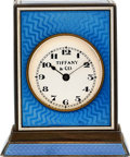 Timepieces:Clocks, Tiffany & Co., Rare Silver & Enamel Quarter Hour Repeater, Push Case Activation, circa 1910. ...