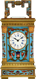 Timepieces:Clocks, French, Very Fine Miniature Enameled Carriage Clock, circa 1900....